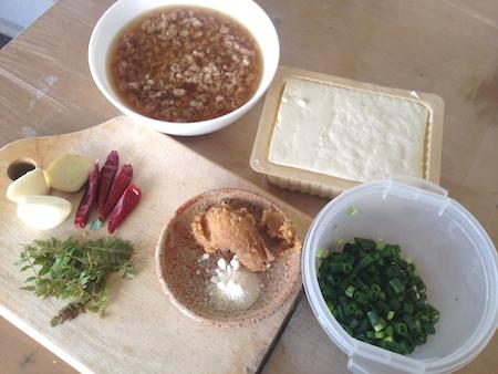 ソイミート麻婆豆腐の材料