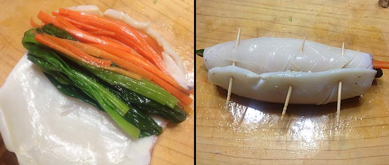 イカで野菜を巻く