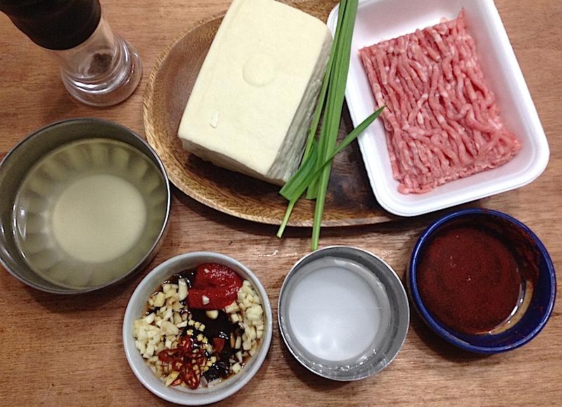 四川麻婆豆腐の材料