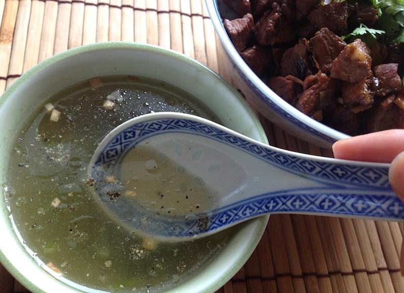 豚肉ゆで汁スープ