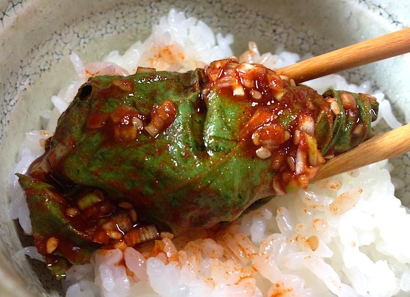 えごまの葉キムチの食べ方