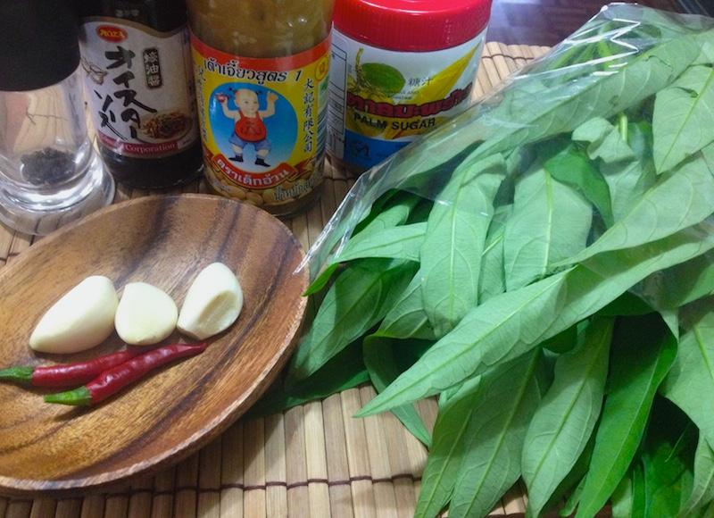 タイ風空芯菜炒めの材料