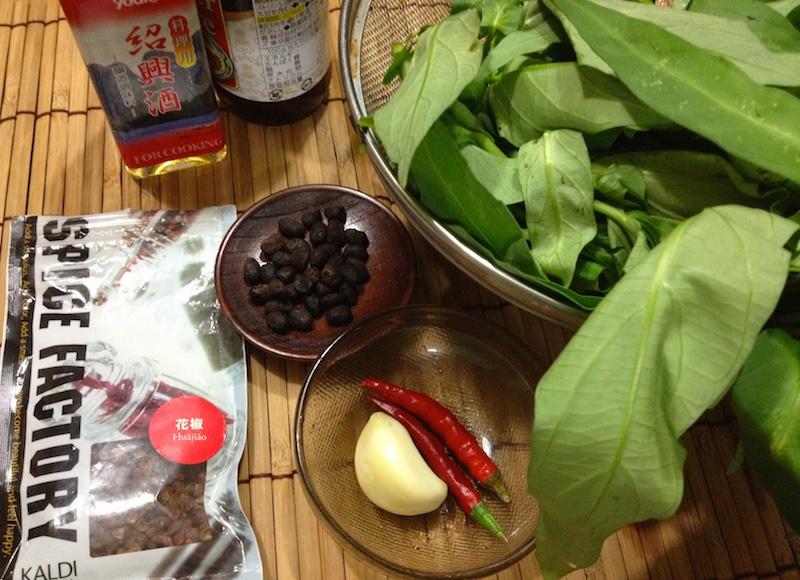 中華風空芯菜炒めの材料