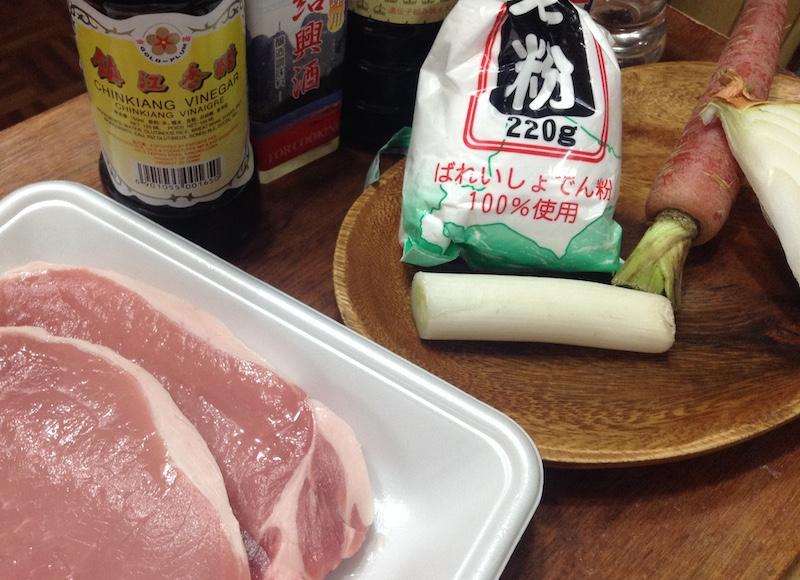 黒酢豚の材料