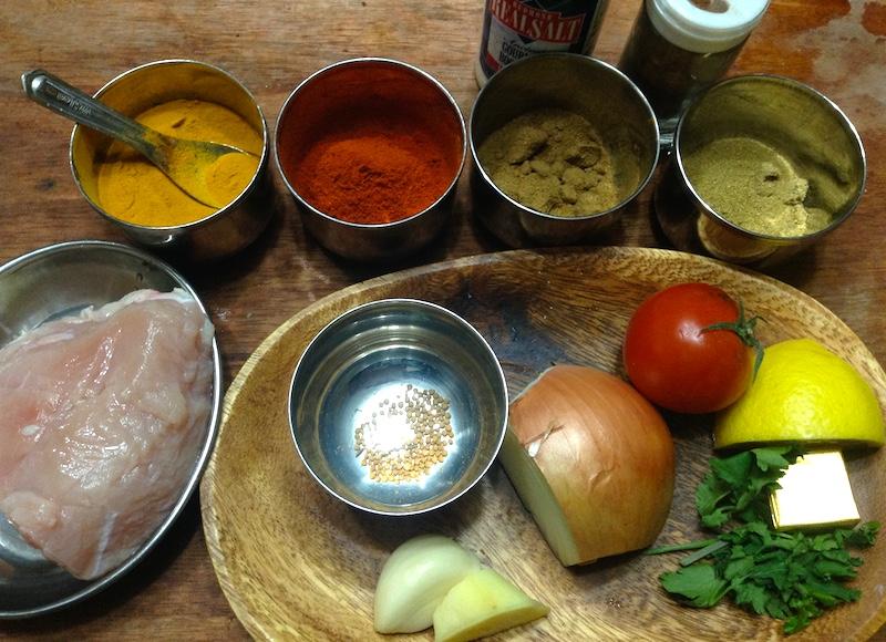 ひよこ豆とチキンカレーの材料