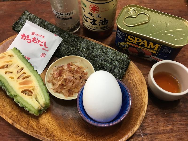 沖縄風スパムむすび材料