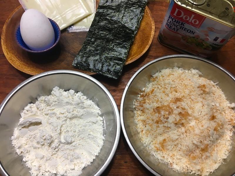チーズスパムカツむすび材料