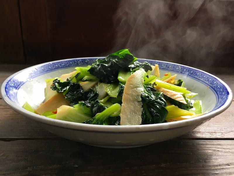 中華風ターサイとタケノコの炒め物レシピ