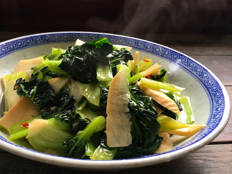 タアサイとタケノコ炒め中華風レシピ