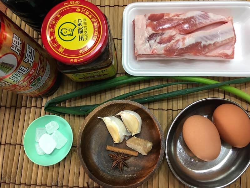 紅腐乳の豚角煮の材料
