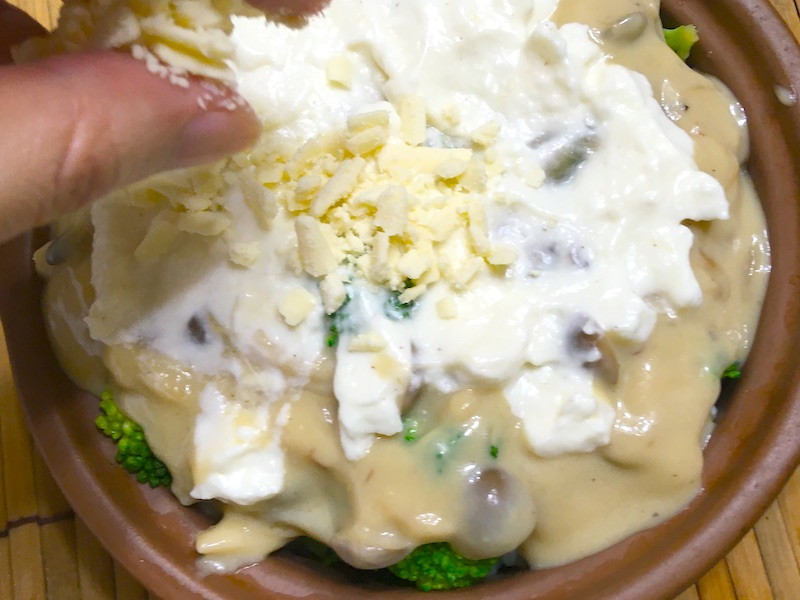 豆乳チーズを乗せて焼く