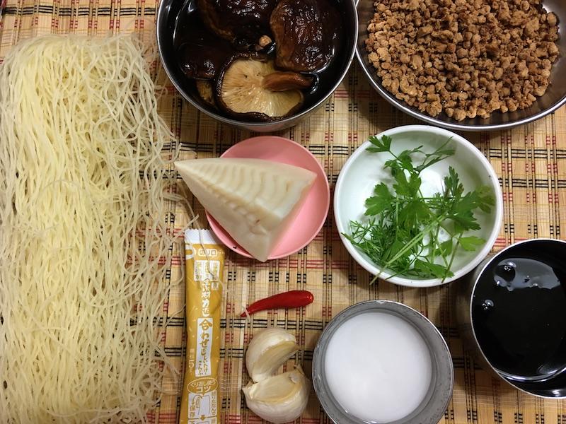 中華風あんかけビーフン材料