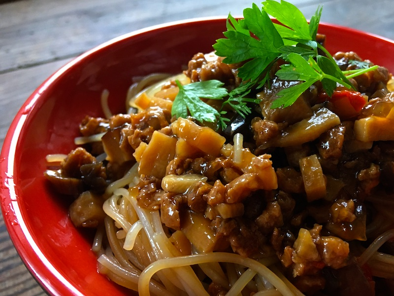 中華風あんかけビーフンの菜食レシピ