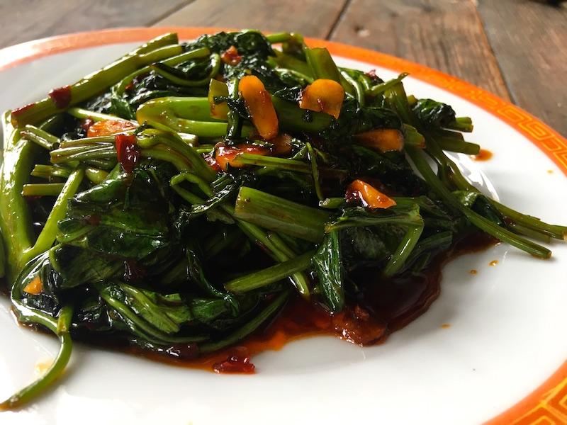 空芯菜の中華炒め(ベジタリアン用オイスターソース使用)