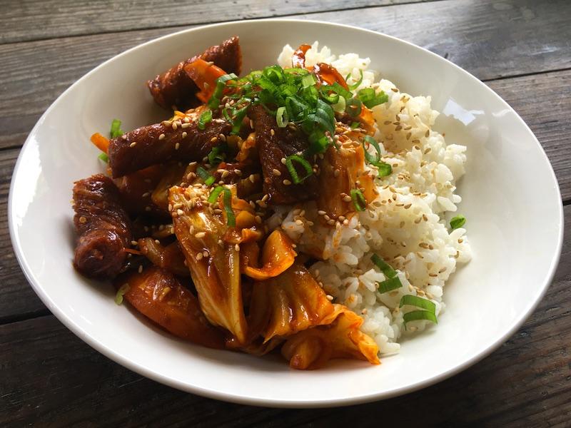 こんにゃく韓国風炒めのベジタリアンレシピ