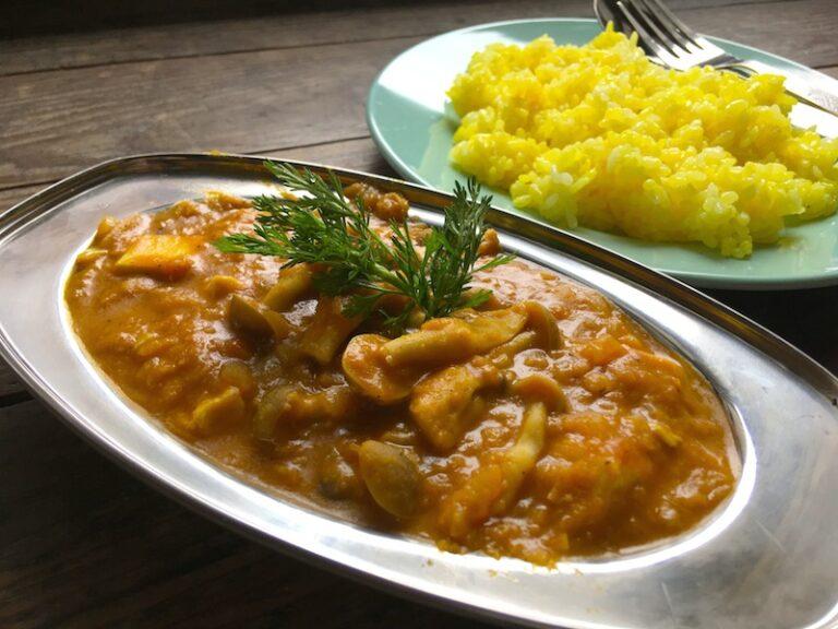 【ベジカレーレシピ】豆腐とレンズ豆の和風インドカレー
