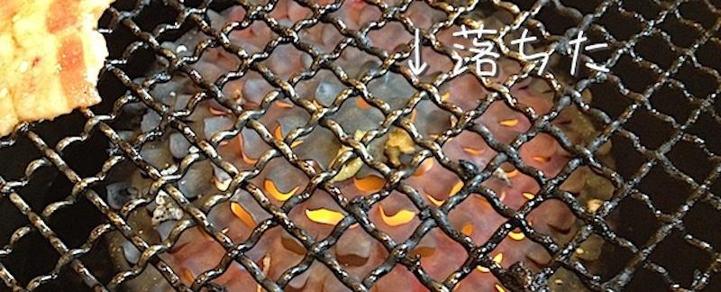 ネギが網に落ちる