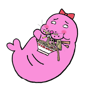 ラーメン食べるトド江たん
