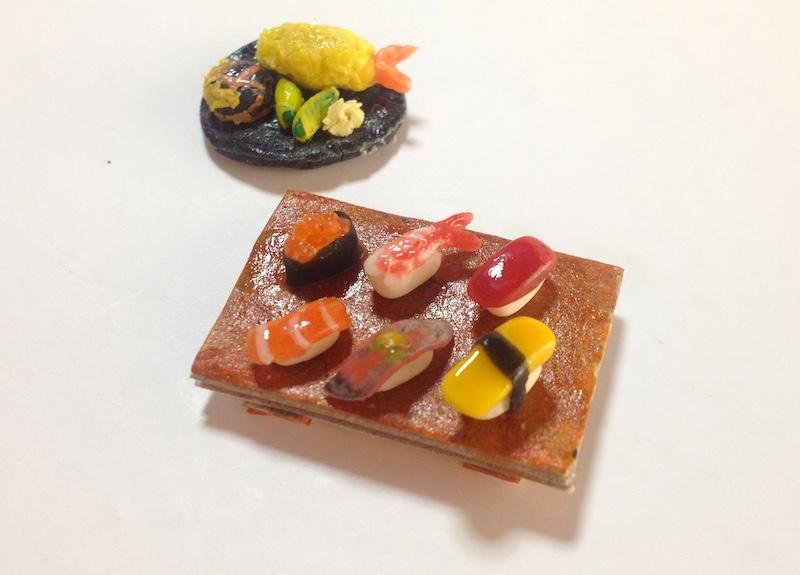 小麦粉粘土で寿司と天ぷら