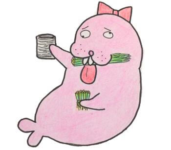 ネギ食べてるトド江たん