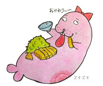 豚カツ食べるトド