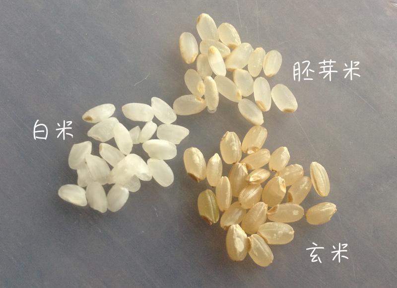 玄米と胚芽米と白米