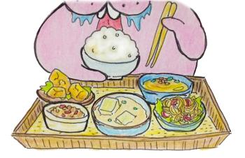 定食食べるトドのイラスト