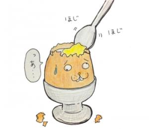 広島の喫茶店【十日市茶房】半熟卵をスプーンで食べるモーニング